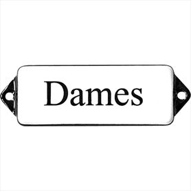 Emaille Bord Dames wit/zwart