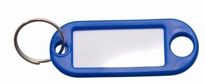 Sleutellabel blauw met Ring