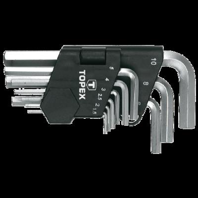 Topex inbusset kort 1,5-10mm, CrV Staal